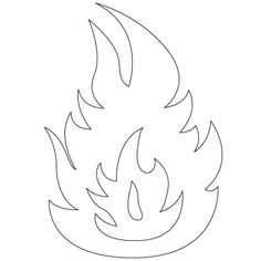 Drawn flame Burning  Craft Kids Outline
