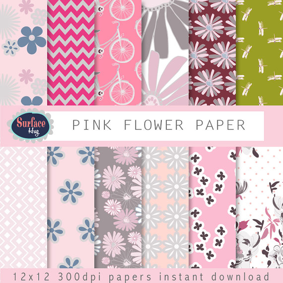 Drawn floral paper #9