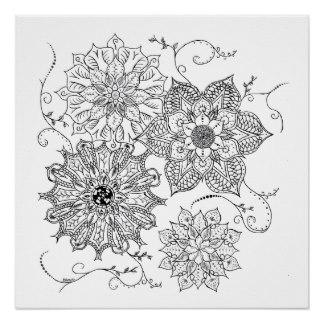 Drawn floral tribal #7