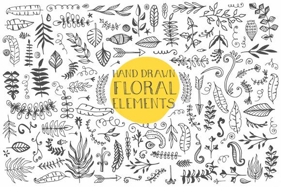Drawn floral vector #12