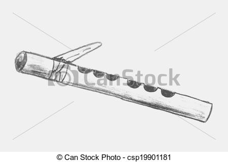 Flute clipart band instrument Simple  sketch of flute