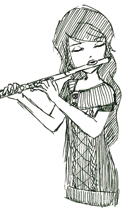 Drawn fluted  Girl by Flute snihplod on