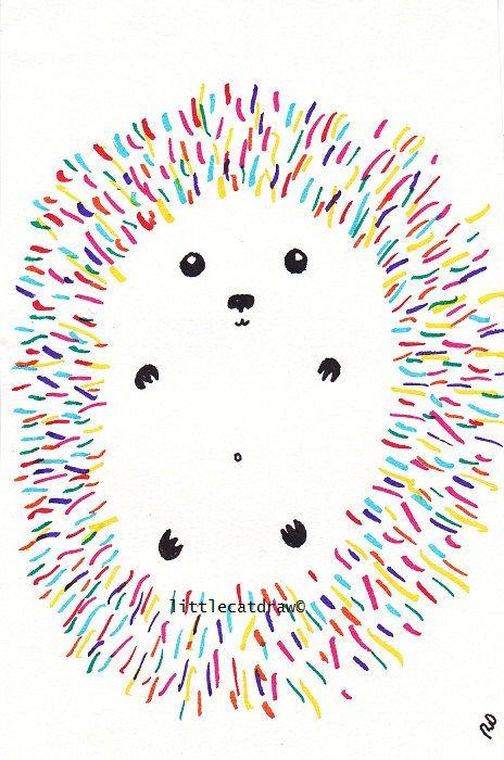 Drawn fluted  rainbow Hedgehog drawing on Rainbow Best