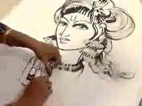 Drawn fluted  shree krishna Of amazing Krishna drawing drawing
