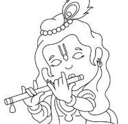Drawn fluted  shree krishna Playing Lord Flute Krishna Krishna