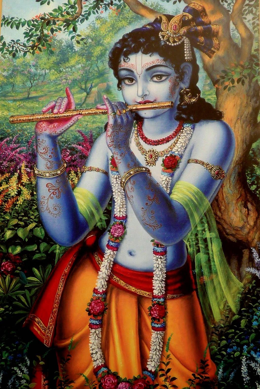 Drawn fluted  shree krishna 'Shri 'Shri Karnamrita': HariHarji: Krishna