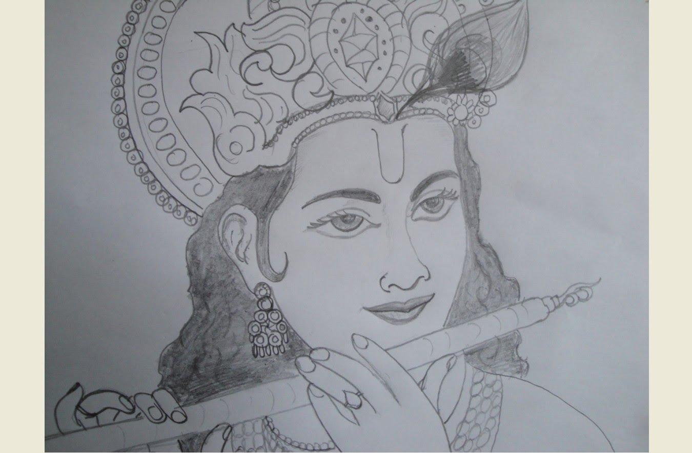 Drawn fluted  shree krishna Drawing Krishna Drawing YouTube Krishna