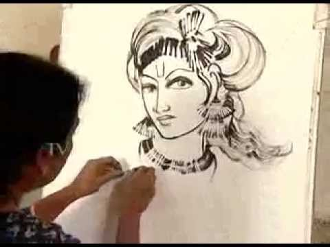 Drawn fluted  shree krishna YouTube  flute Drawing Lord
