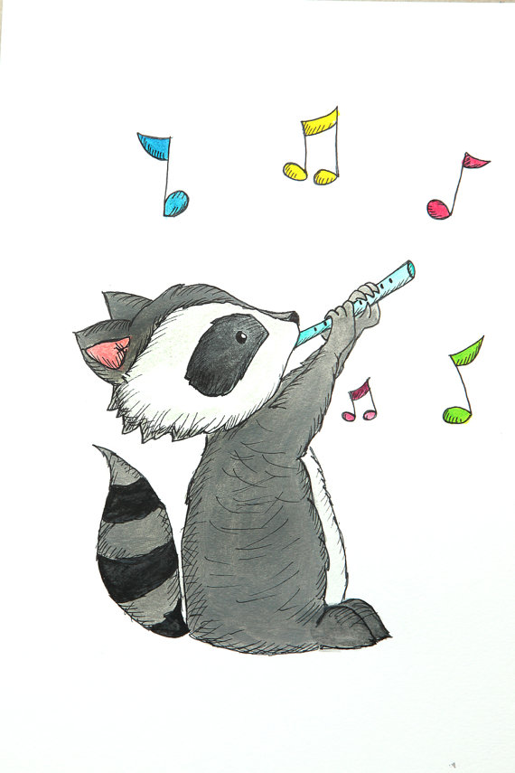 Drawn racoon cartoon Flute picture racoon enjoy of