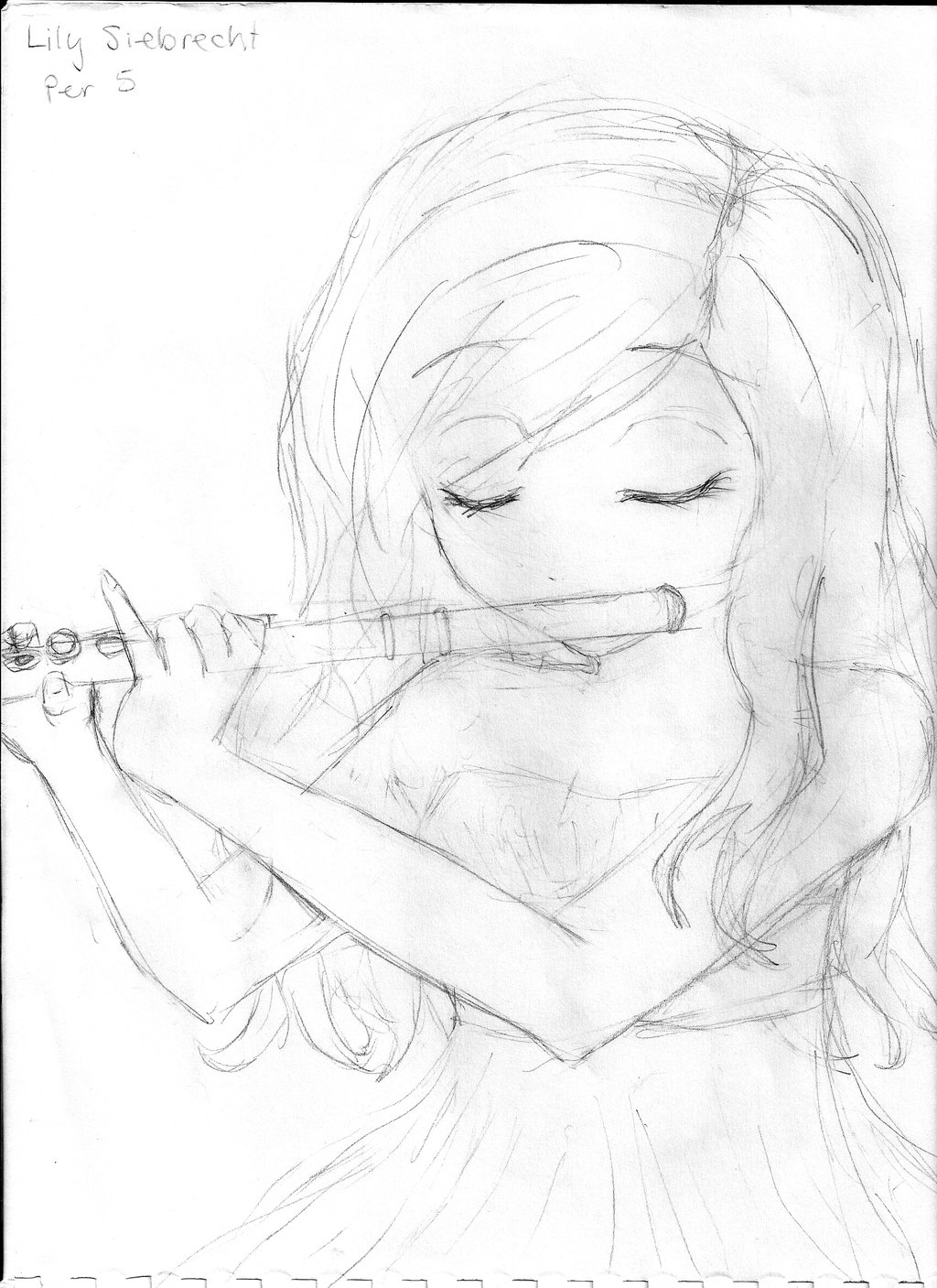Drawn fluted  sketch DeviantArt Flute Playing Playing by