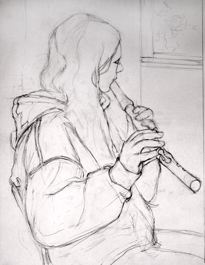Drawn fluted  sketch Musicians at of Page The