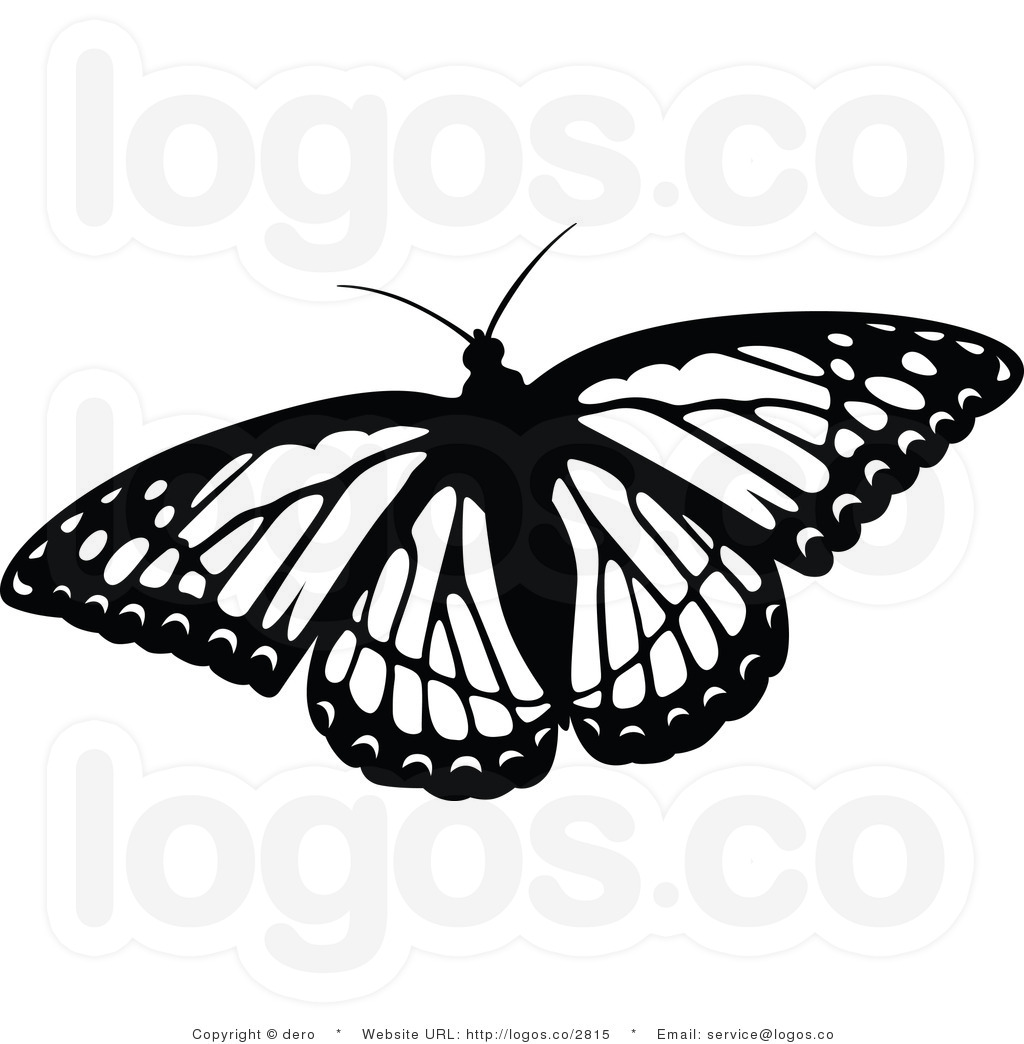 Monarch Butterfly clipart black and white #1