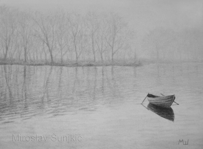 Drawn river simple Danube  pencil – Fog
