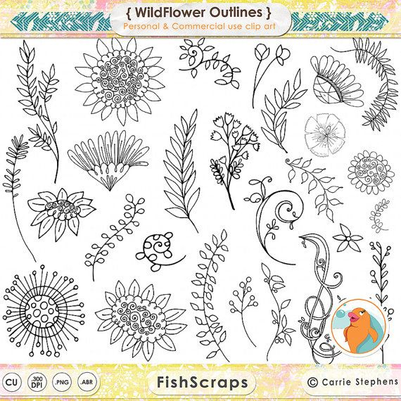Drawn foliage And Flower Outlines Flower Flower