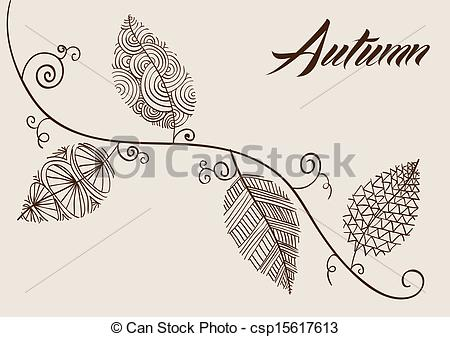 Drawn leaves vintage Hand EPS10 Vector of background