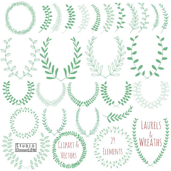 Wreath clipart hand drawn Wreath Branches Leaf Art