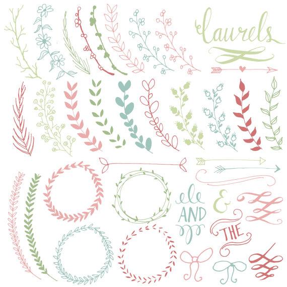 Wreath clipart calligraphy Pretty Use Ribbon // &