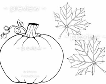Drawn pumpkin leaf Digital Childrens Autumn Pumpkin Etsy