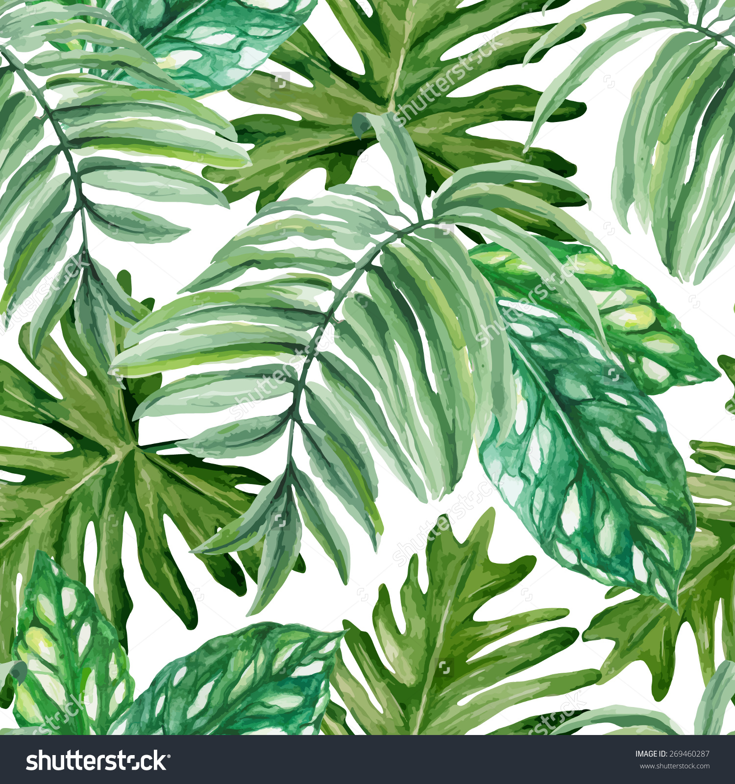 Drawn rainforest watercolor Seamless hand Exotic rainforest watercolor