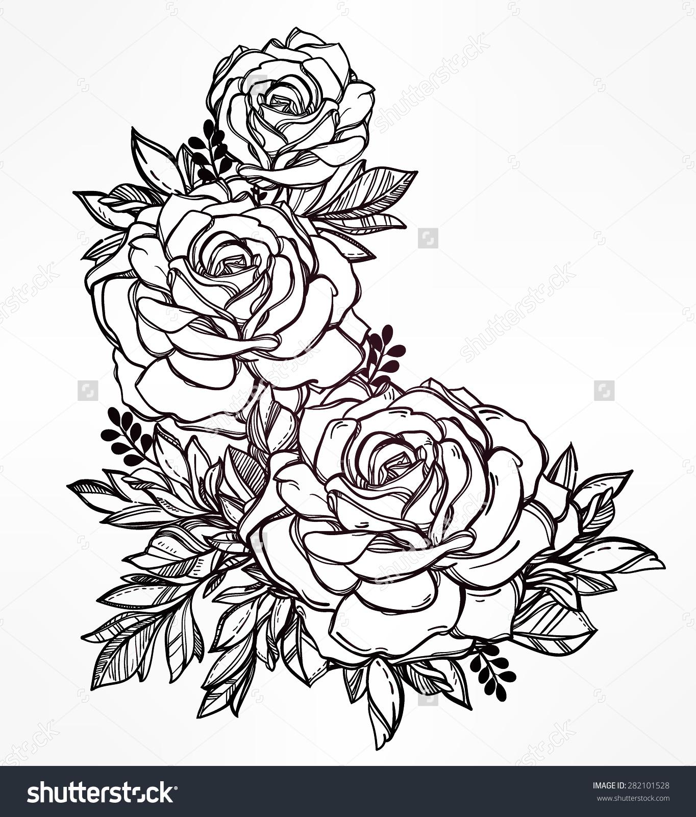 Drawn vintage flower free hand drawing Motif roses flower stem highly