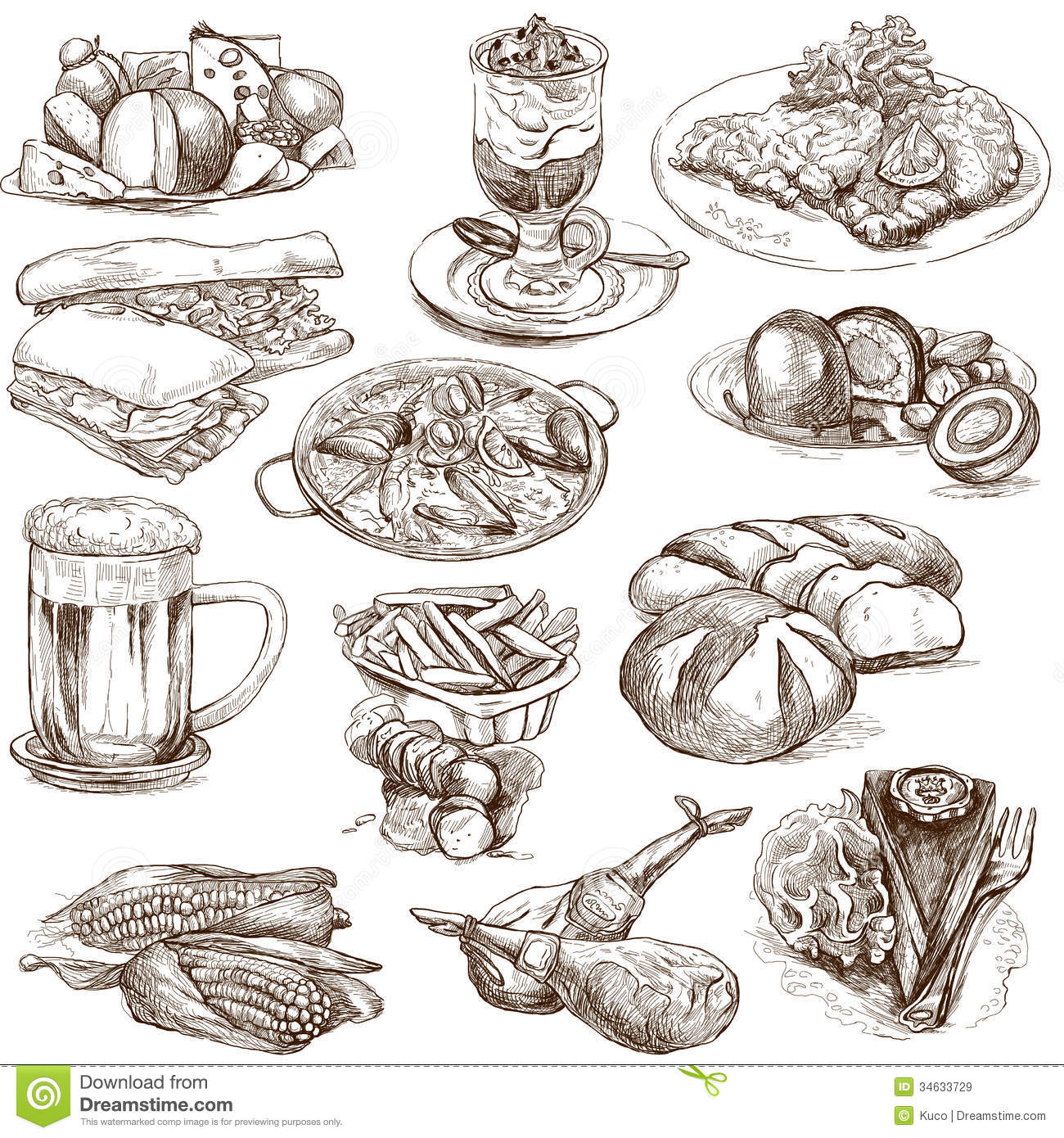 Drawn food Sized description full illustrations white
