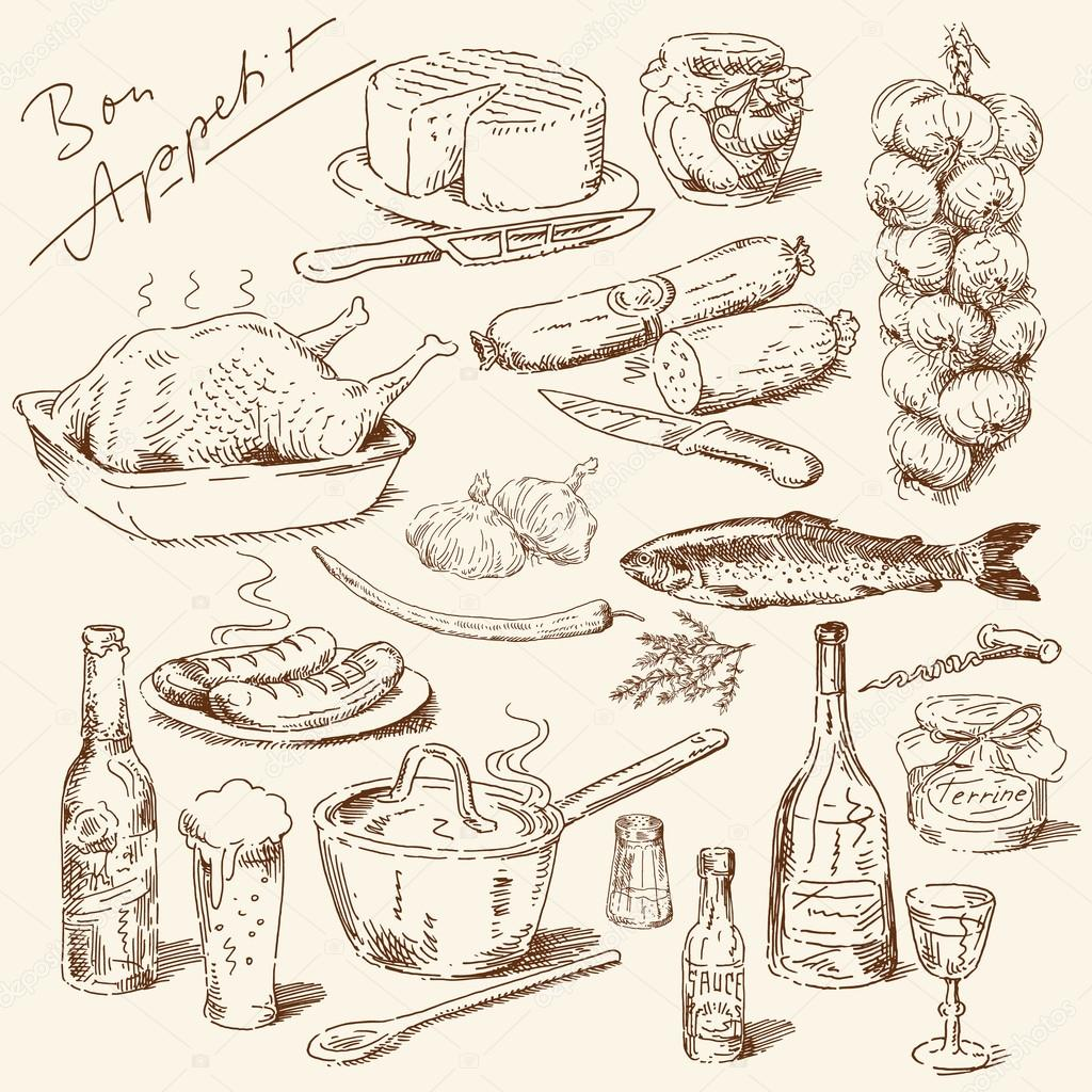 Drawn food Food hand drawn of ©