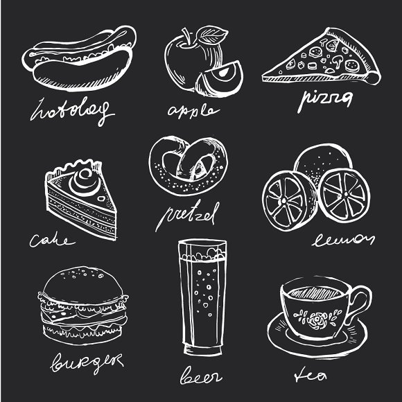 Drawn food Market on Creative Icons chalk