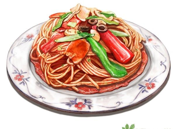 Drawn food PASTA  illustration •♥•✿ Food