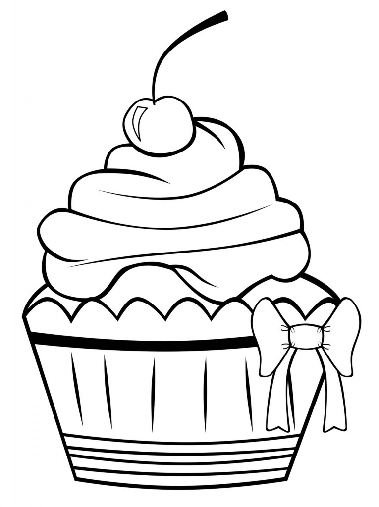 Drawn cake child Pages Cupcake by cream hand