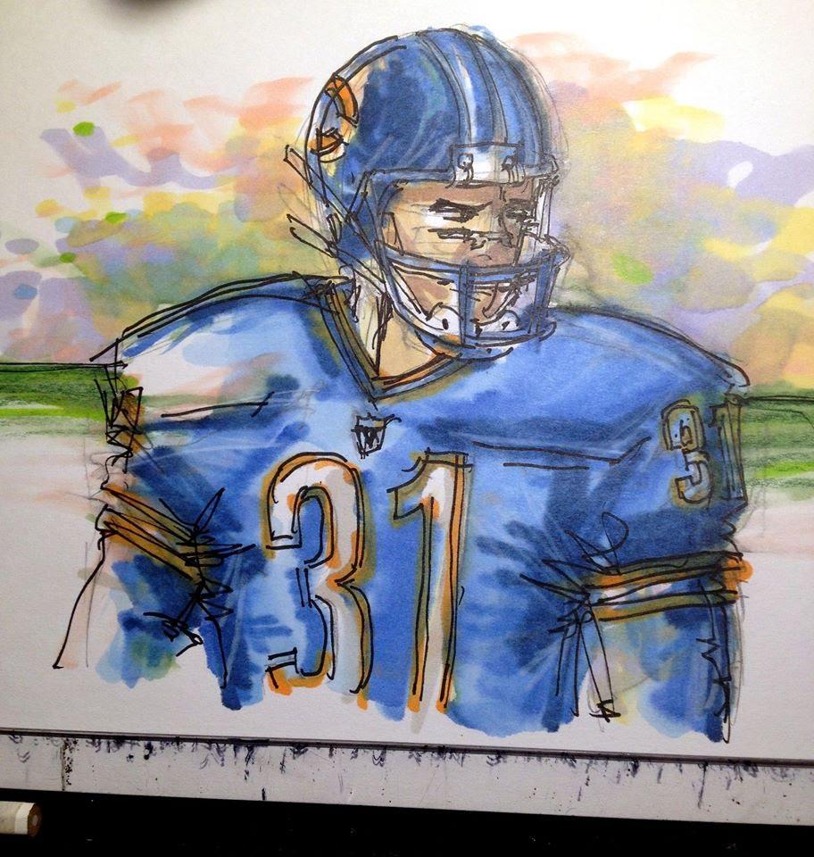 Drawn football nfl football Series: NFL Drawing Football Player