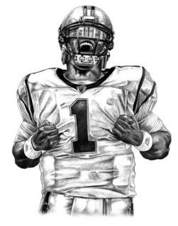Drawn football realistic Drawing Carolina Cam drawing❤ Lithograph