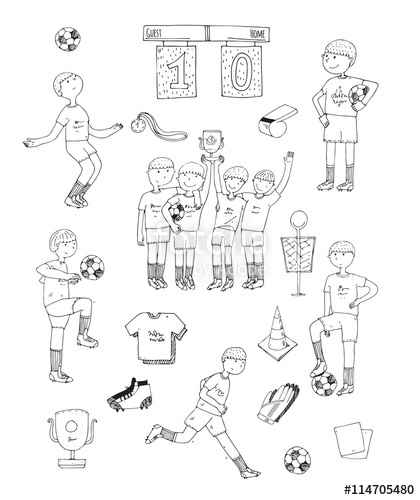 Drawn football white background And soccer black on with