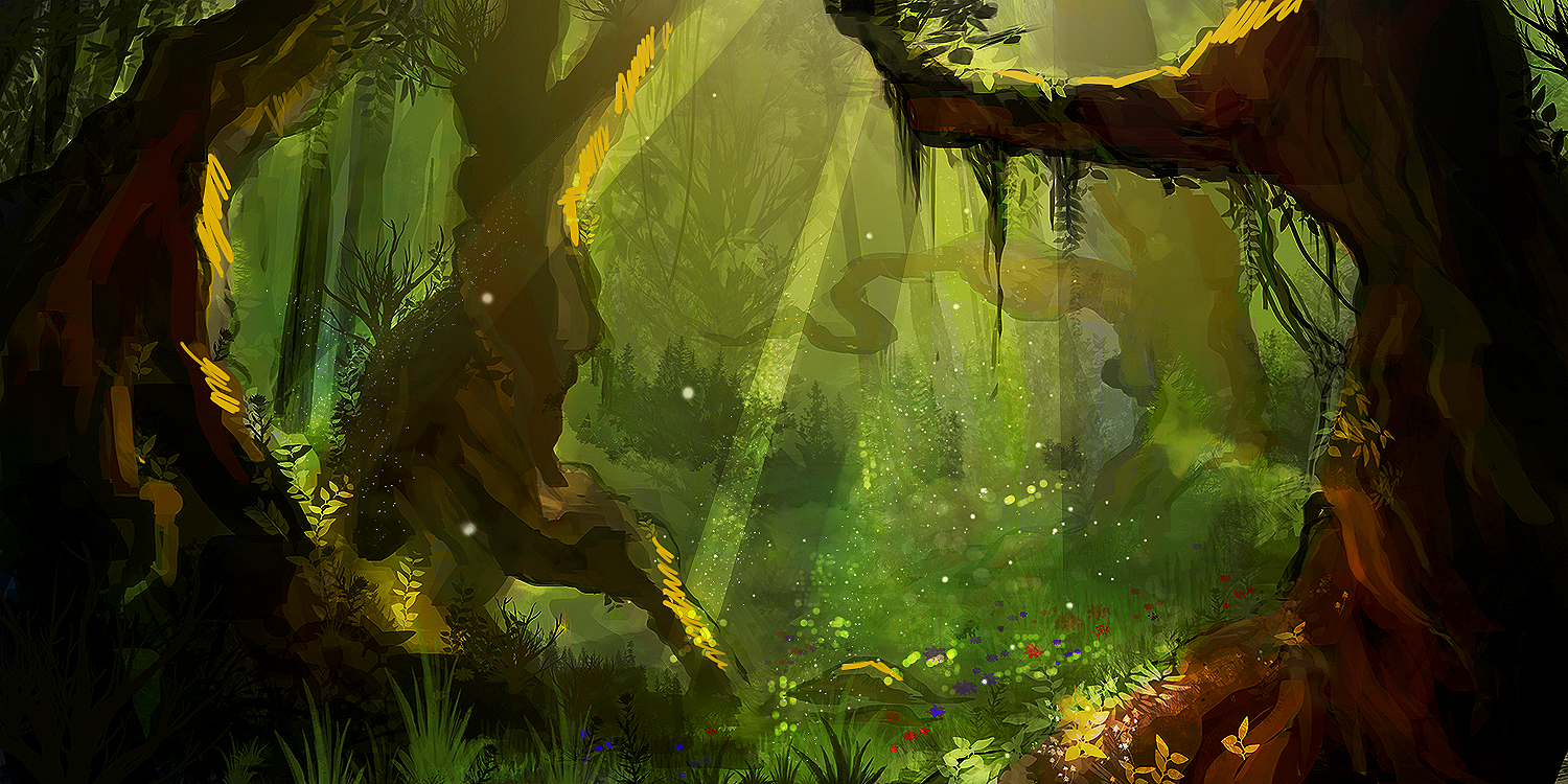 Drawn forest Digital painting forest painting Pesquisa