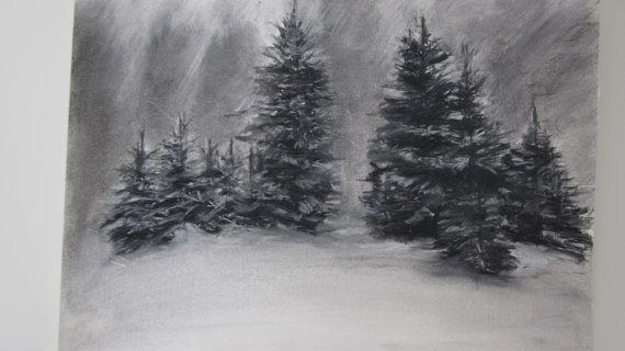 Drawn pine tree winter tree  SALE drawing Trees in