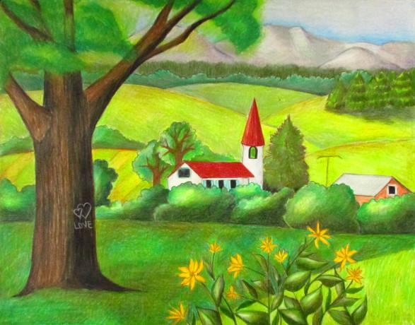 Drawn scenery color Landscape Pencil Landscape Happy Drawing