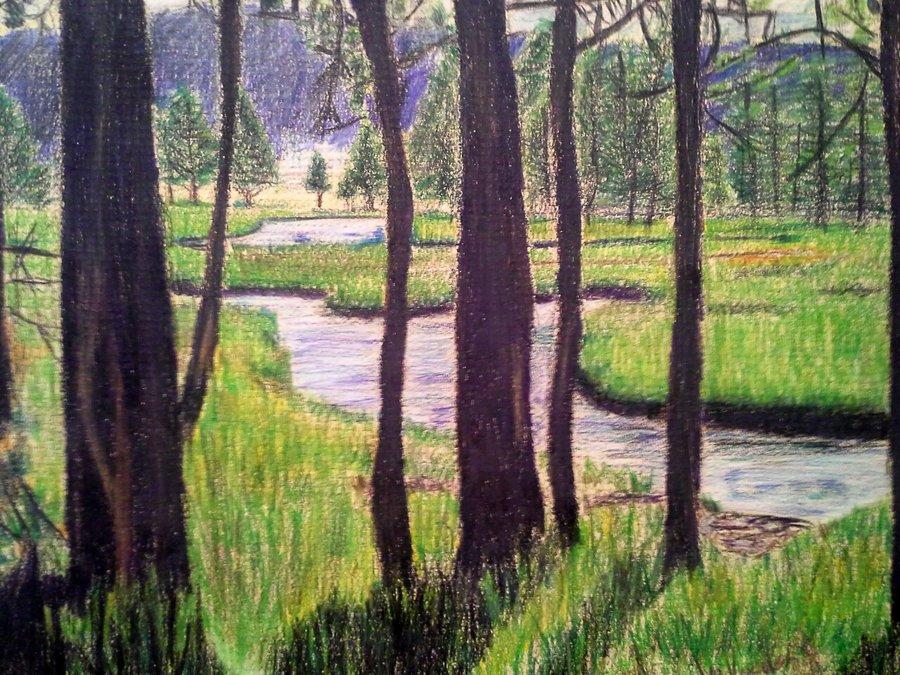 Drawn scenery colored pencil In landscape Landscape in