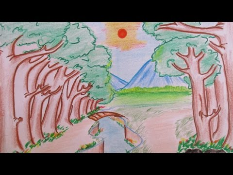Drawn scenery sunrise Beautiful View How Landscape To