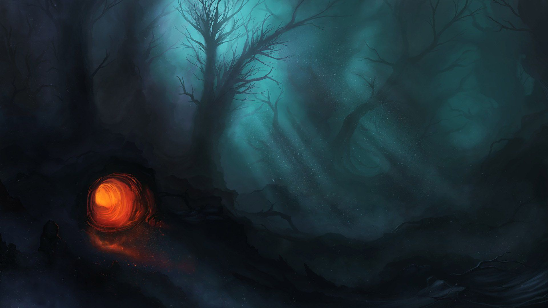 Drawn background cave Forest dark Forest the #