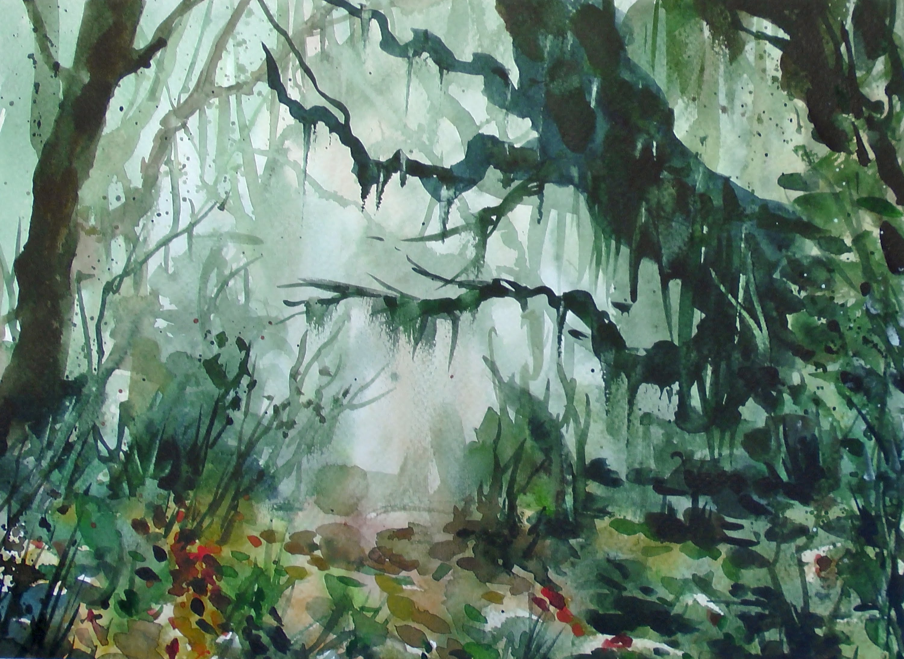 Drawn rainforest watercolor Speed painting painting YouTube Watercolor
