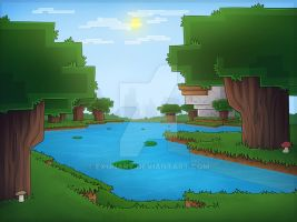 Drawn forest Minecraft Scenery Forest Roofed by