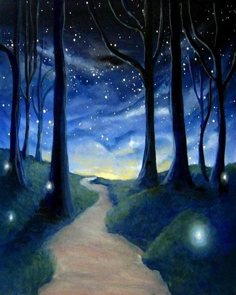 Changing To Night  clipart night forest Paint Forest me Painting Pictures