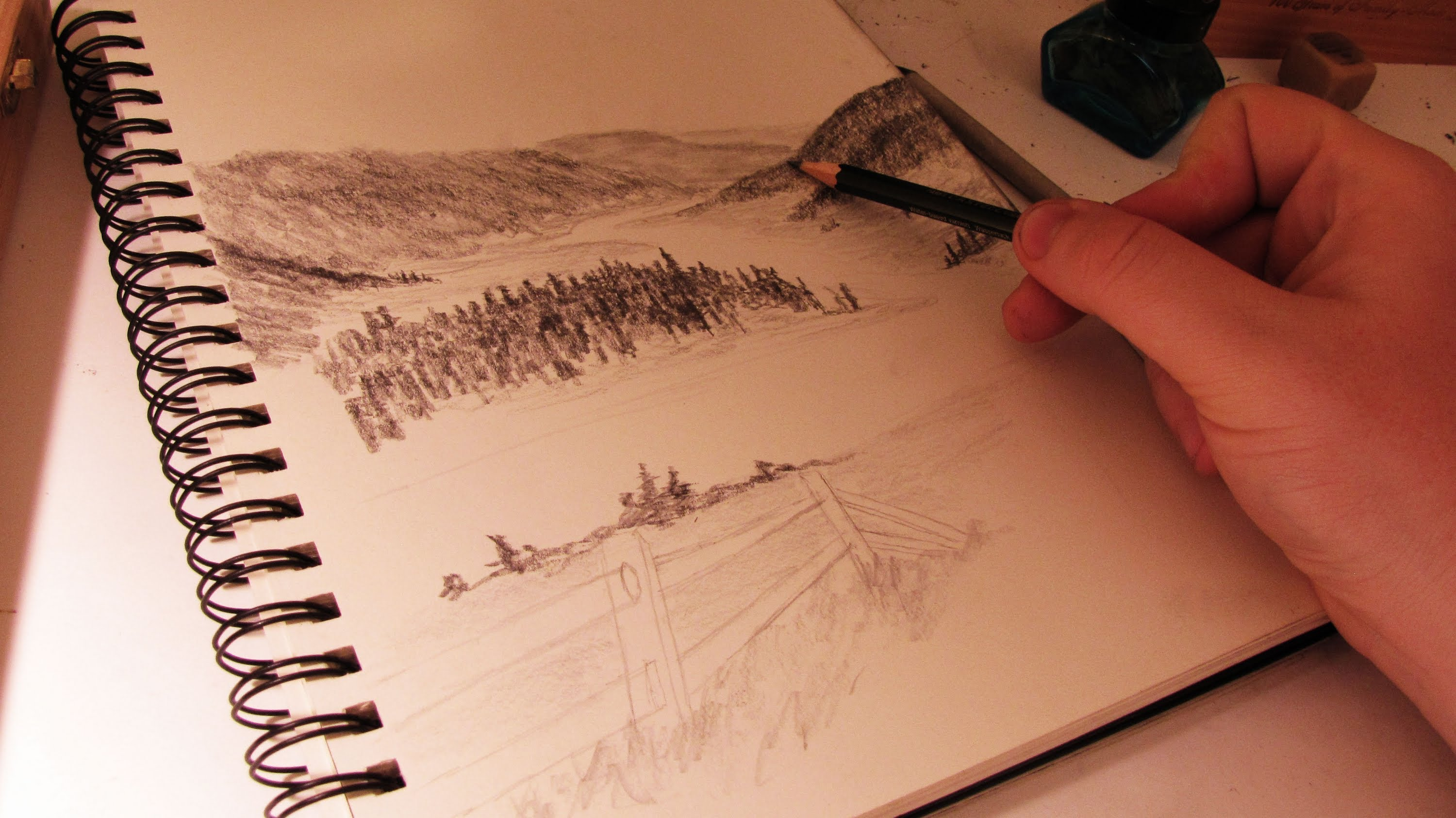 Drawn river perspective A Scene How YouTube Atmospheric