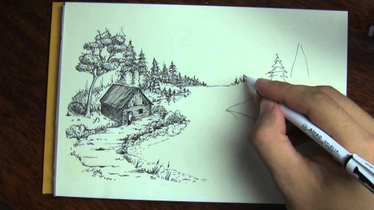 Drawn river perspective In forest drawn in Hand