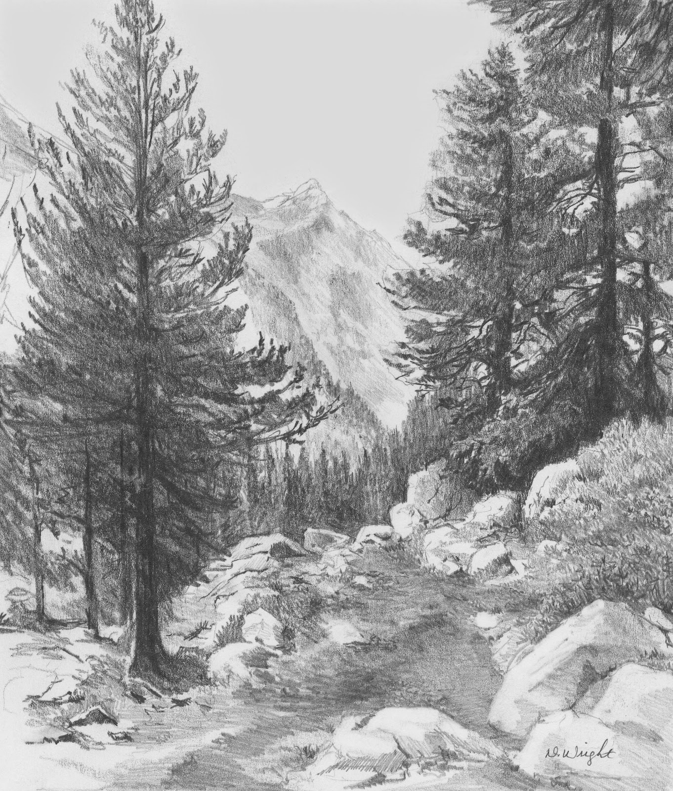 Drawn snowfall ice mountain Pencil Landscape Re)Introducing Diane Teaching