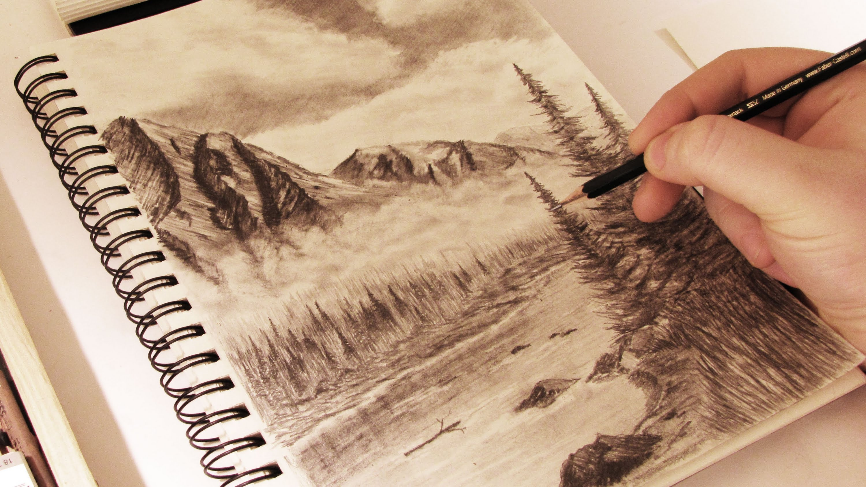 Drawn scenic mountain – Mountains Draw realistic w/