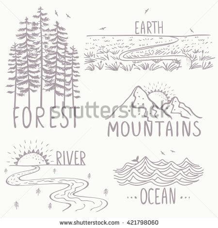 Drawn river river line River Set  nature mountains