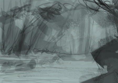 Drawn jungle deep Forest comics concept environment for