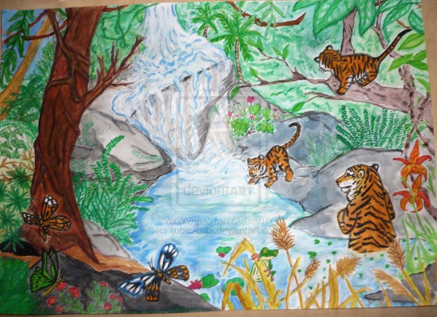 Drawn rainforest tropical forest  Rainforest Painting Tropical Tropical