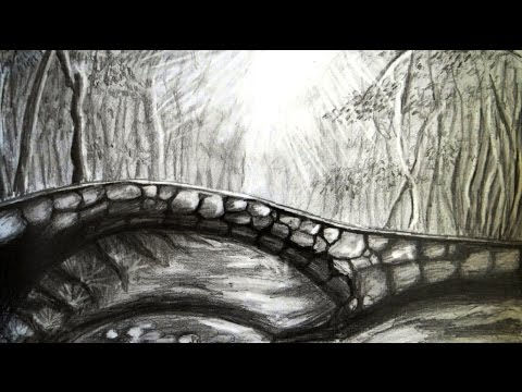 Drawn scenic forest Step bridge draw step step