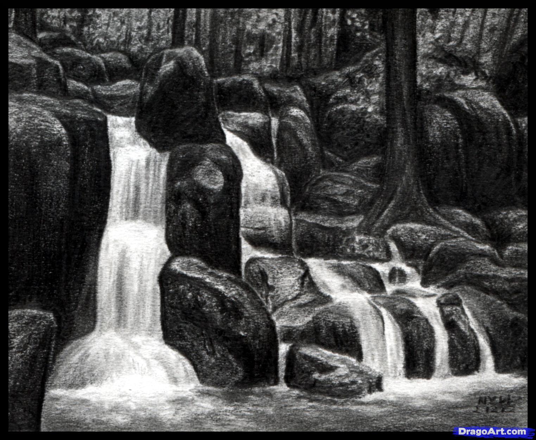 Drawn pencil waterfall Draw waterfall drawing a Google